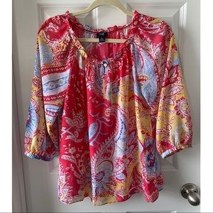 CHAPS pink multicolored summer top